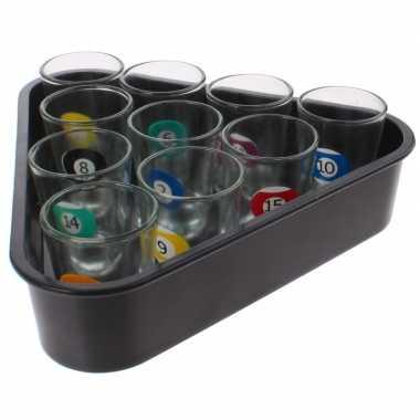 Drankspel/drinkspel beer pong set biljart shotglaasjes 11-delig