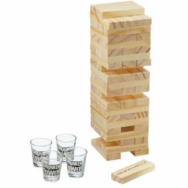 Drankspel jenga shotspel met 4 shotglaasjes