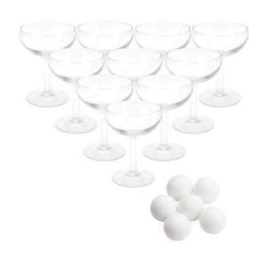 Drankspel prosecco pong met 12 coupe glazen