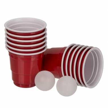 Mini beer pong drankspel/drinkspel 14 delig