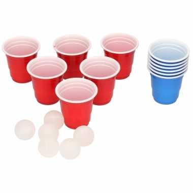 Mini beer pong drankspel/drinkspel 18 delig