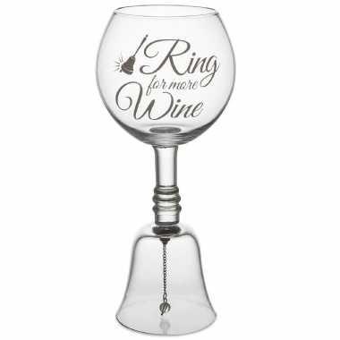 Wijnglas tafelbel vrijgezellen drankspellen 13 x 26 cm